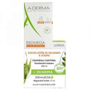 A-DERMA Exomega Control Balzam 200 ml + Dermalibour Reparačný krém 15 ml
