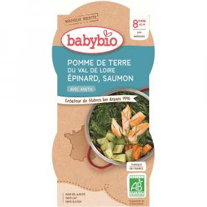 BABYBIO menu zemiaky so špenátom, lososom a ryžou 2x200 g