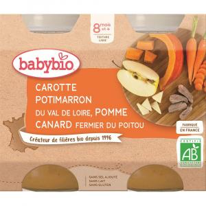 BABYBIO menu mrkva s tekvicou, jablkom as kačacím mäsom 2x200 g