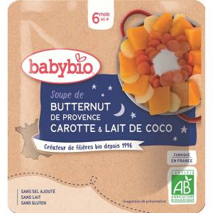 BABYBIO Polievka z maslovej tekvice s mrkvou a kokosovým mliekom 190 g