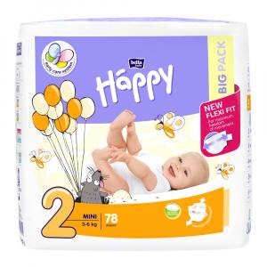 HAPPY Mini Big Pack Detské plienky 3-6 kg 78 ks