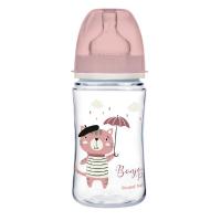 CANPOL BABIES Fľaša sa širokým hrdlom BONJOUR PARIS ružová 240 ml