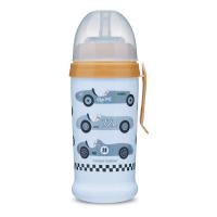 CANPOL BABIES Fľaša športová s nevylievacou slamkou AUTÁ svetlomodrá 350 ml