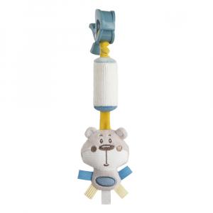 CANPOL BABIES Plyšová hračka so zvončekom a klipom PASTEL FRIENDS šedý medvedík