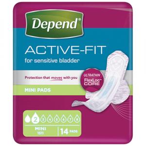 DEPEND Active-Fit mini dámské inkontinenčné vložky 2 kvapky 14 kusov
