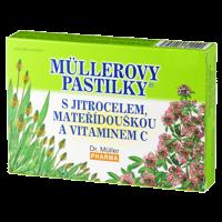 DR. MÜLLER Müllerovy pastilky s skorocelom, materinou dúškou a vitamínom C 24 pastiliek