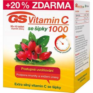 GS Vitamín C 1000 so šípkami 50+10 kapsúl ZDARMA