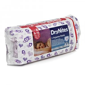HUGGIES DRY NITES nohavičky absorbčné 8 - 15 / L / girls / 25 - 57 kg / 9 ks