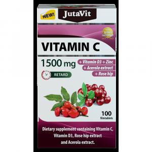 JUTAVIT Vitamín C 1500 mg s vitamínom D3, zinkom, šípkami a extraktom z aceroly 100 tabliet
