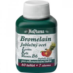 MedPharma Bromelain 300 mg + Jablčný ocot + Lecitín 67 tabliet