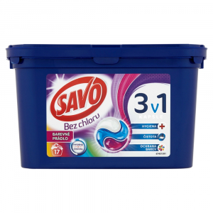 SAVO Bez chlóru Color 3v1 Pracie kapsule na farebnú bielizeň 17 pracích dávok
