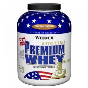 Premium Whey, srvátkový proteín, Weider, 2300 g - Jahoda-Vanilka